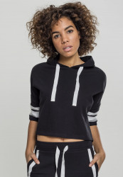 Dámska crop top mikina URBAN CLASSICS Ladies Taped Short Sleeve Hoody black