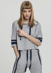 Dámska crop top mikina URBAN CLASSICS Ladies Taped Short Sleeve Hoody grey