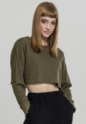 Dámska crop top mikina URBAN CLASSICS Ladies Terry Cropped Crew olive