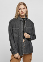 Dámska košeľa Urban Classics Ladies Denim Oversized black stone washed