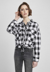 Dámska košeľa URBAN CLASSICS Ladies Short Oversized Check Shirt black/white