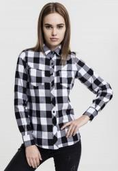 Dámska košeľa Urban Classics Ladies Turnup Checked Flanell Shirt blk/wht