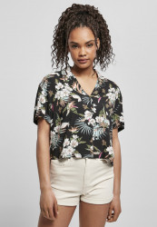 Dámska košeľa Urban Classics Ladies Viscose Resort black tropical