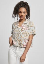 Dámska košeľa Urban Classics Ladies Viscose Resort lightblue hibiscus