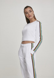 Dámska mikina bez kapuce Urban Classics Ladies Multicolor Taped Sleeve Crewneck biela
