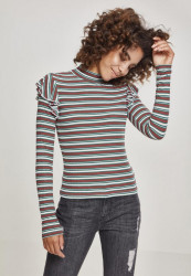 Dámska mikina bez kapuce Urban Classics Ladies Rib Striped Volant Turtleneck L/S white/green/firered