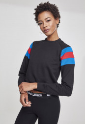 Dámska mikina bez kapuce Urban Classics Ladies Sleeve Stripe Crew black/brightblue/firered