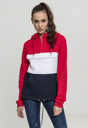 Dámska mikina bez zipsu URBAN CLASSICS Ladies Color Block Sweat Pull Over Hoody firered/navy/white