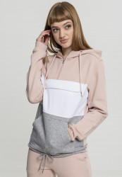 Dámska mikina bez zipsu URBAN CLASSICS Ladies Color Block Sweat Pull Over Hoody lightrose/grey/white