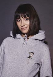Dámska mikina MERCHCODE Ladies Betty Boop Lips Hoody Farba: heather grey,