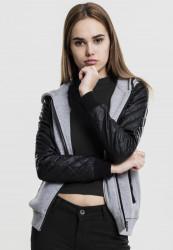 Dámska mikina na zips Urban Classics Ladies Diamond Leather Imitation Sleeve Zip Hoody gry/blk