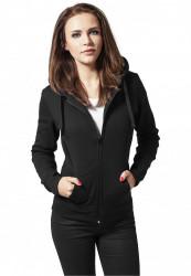 Dámska mikina na zips Urban Classics Ladies Zip Hoody čierna