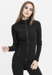 Dámska mikina URBAN CLASSICS LADIES ATHLETIC INTERLOCK ZIP HOODY BLACK