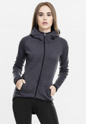 Dámska mikina URBAN CLASSICS LADIES ATHLETIC INTERLOCK ZIP HOODY charcoal
