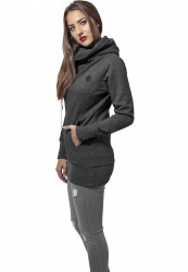 Dámska mikina URBAN CLASSICS LADIES LONG LOGOPATCH HOODY Charcoal #1