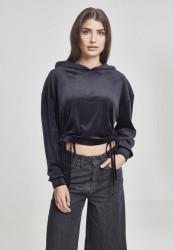 Dámska mikina URBAN CLASSICS Ladies Short Velvet Gathered Hoody black