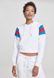 Dámska mikina URBAN CLASSICS Ladies Sleeve Stripe Hoody white/brightblue/firered
