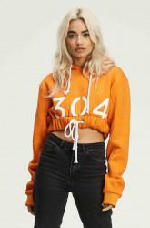 Dámska oranžová crop mikina s kapucňou 304 Clothing