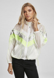 Dámska prechodná bunda URBAN CLASSICS Ladies 3 -Tone Light Track Jacket white/silver
