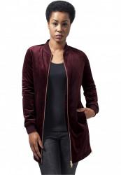 Dámska prechodná bunda URBAN CLASSICS Ladies Long Velvet Jacket bordová