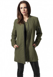 Dámska predĺžená bombera URBAN CLASSICS LADIES PEACHED LONG BOMBER JACKET OLIVE
