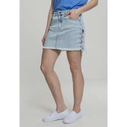 Dámska riflová sukňa URBAN CLASSICS Ladies Denim Lace Up Skirt blue