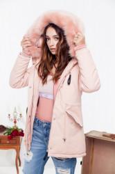 Dámska ružová zimná bunda s kožušinou Sixth June Farba: Ružová,