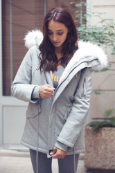 Dámska šedá zimná bunda s kapucňou Sixth June Farba: Šedá,