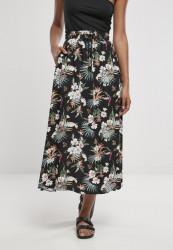 Dámska sukňa Urban Classics Ladies Viscose Midi Skirt black tropical Pohlavie: dámske, Velikost: XS