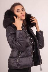 Dámska zimná bunda Sixth June hood fur thin Puffer jacket black Farba: Čierna,