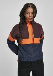 Dámska zimná bunda URBAN CLASSICS Ladies 3-Tone Neon Mix Pull Over Jacket redwine/midnightnavy