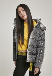 Dámska zimná bunda URBAN CLASSICS Ladies AOP Hooded Puffer Jacket grey snake