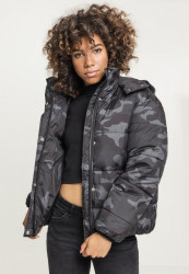 Dámska zimná bunda URBAN CLASSICS Ladies Boyfriend Camo Puffer Jacket darkcamo