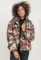 Dámska zimná bunda URBAN CLASSICS Ladies Boyfriend Camo Puffer Jacket rustycamo