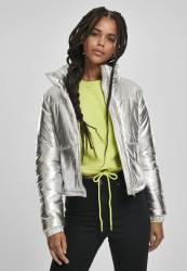 Dámska zimná bunda URBAN CLASSICS Ladies Metalic Puffer Jacket silver