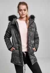 Dámska zimná bunda URBAN CLASSICS Ladies Overdyed Camo Parka maskáčová