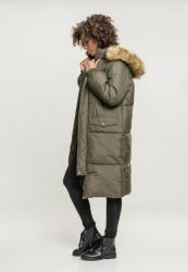 Dámska zimná bunda URBAN CLASSICS Ladies Oversize Faux Fur Puffer Coat darkolive/beige #2