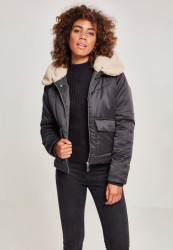 Dámska zimná bunda URBAN CLASSICS Ladies Sherpa Hooded Jacket blk/darksand