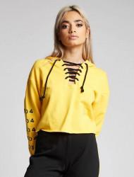 Dámska žltá crop top mikina s kapucňou 304 Clothing