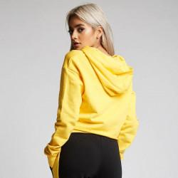 Dámska žltá crop top mikina s kapucňou 304 Clothing #1