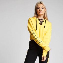 Dámska žltá crop top mikina s kapucňou 304 Clothing #3