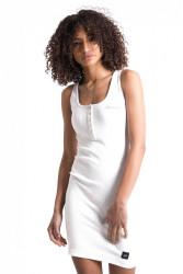 Dámske biele šaty Sixth June Buttons Ribbed Dress