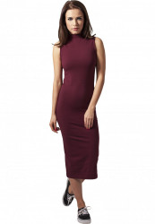 Dámske bordové šaty URBAN CLASSICS Ladies Stretch Jersey Turtleneck Dress - L