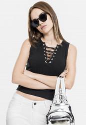 Dámske tielko Urban Classics Ladies Lace Up Cropped Top black Size US: XS, Méret UK: dámske