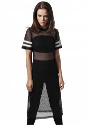Dámske čierne tričko Urban Classics Ladies Mesh Long Tee