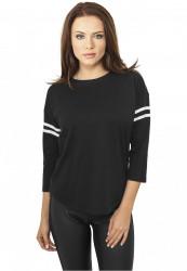 Dámske čierne tričko Urban Classics Ladies Sleeve Striped L/S Tee