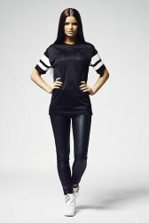 Dámske čierne tričko Urban Classics Ladies Stripe Mesh Tee