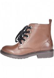 Dámske členkové topánky Urban Classics Velvet Lace Boot brown