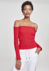Dámske crop top tričko s dlhým rukávom Urban Classics Ladies Cold Shoulder Smoke L/S červené