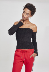 Dámske crop top tričko s dlhým rukávom Urban Classics Ladies Velvet Cold Shoulder Smoke L/S